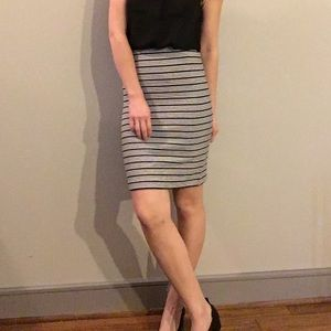 Loft black and white striped skirt XS